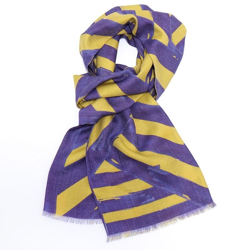 イタリア製 メンズストール シルクウール ストリィシア・イエロー(黄色×紫)4