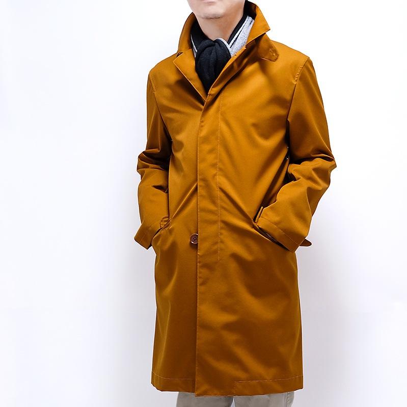 人気のバイカラーマフラー ブラックグレー  メンズ秋冬コート ブラウン