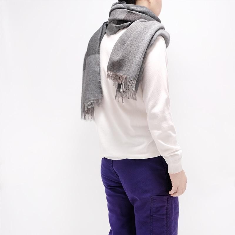 イタリア製 大判ストール 男性女性兼用デザイン ブロッコ・グレー(灰色系)3