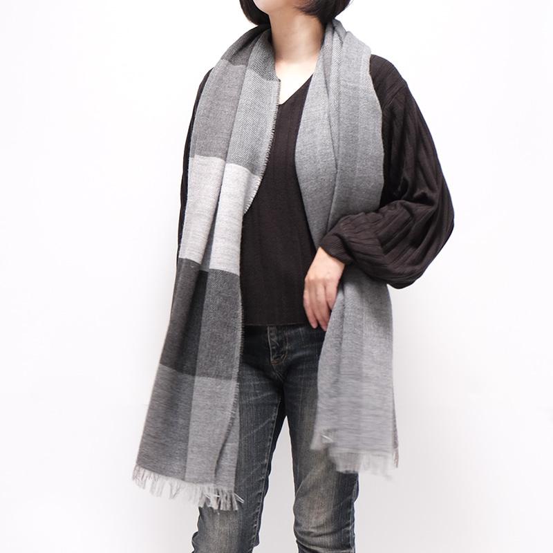 イタリア製 大判ストール 男性女性兼用デザイン ブロッコ・グレー(灰色系)1