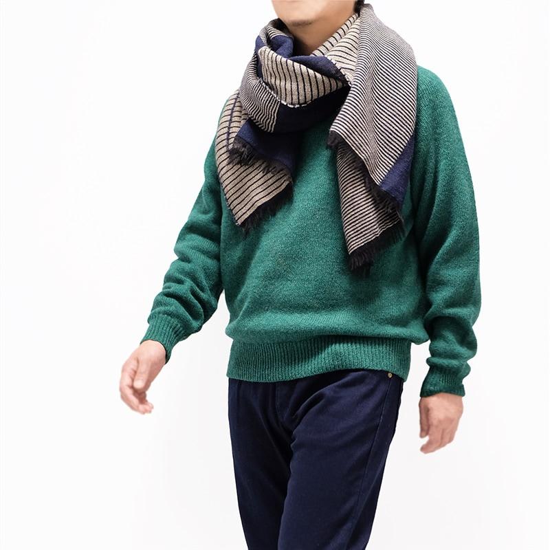 メンズ大判ストール ボーダー ネイビー メンズカジュアル グリーンのセーター1