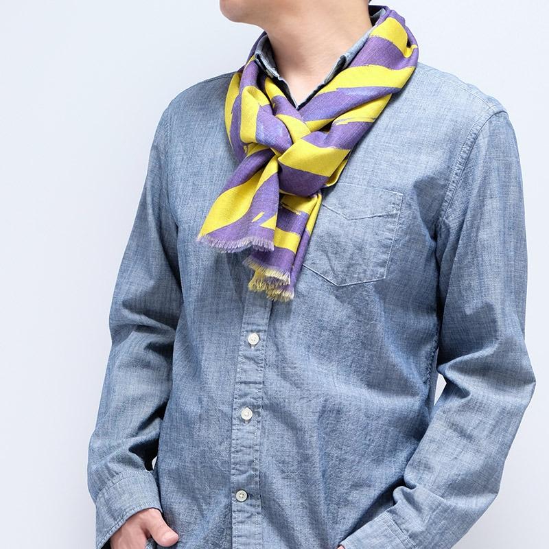 イタリア製 メンズストール シャツとストールの秋コーデ ストリィシア・イエロー(黄色×紫)6
