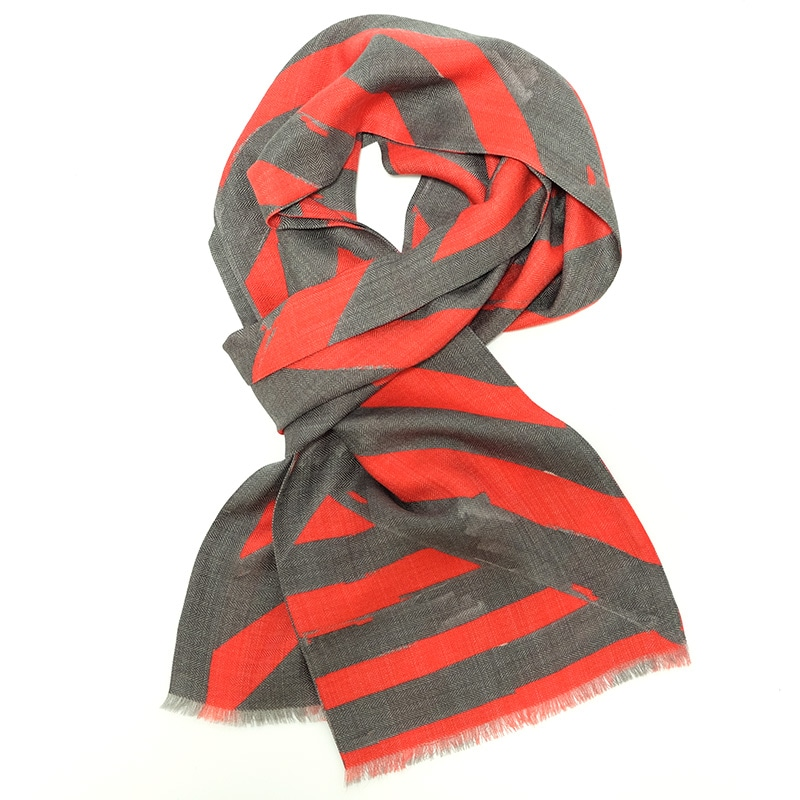イタリア製 メンズストール シルクウール ストリィシア・レッド(赤×灰色)4
