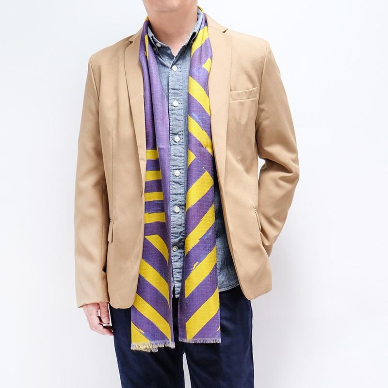 イタリア製 メンズストール ジャケットとストールのコーデ ストリィシア・イエロー(黄色×紫)1
