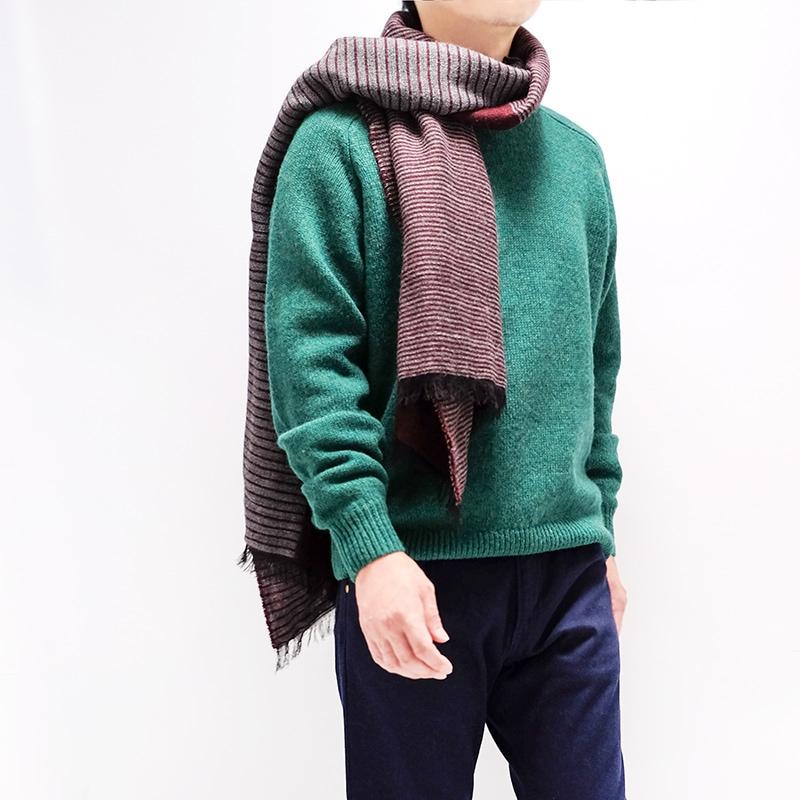 メンズ大判ストール ボーダー ワイン メンズカジュアル グリーンのセーター1