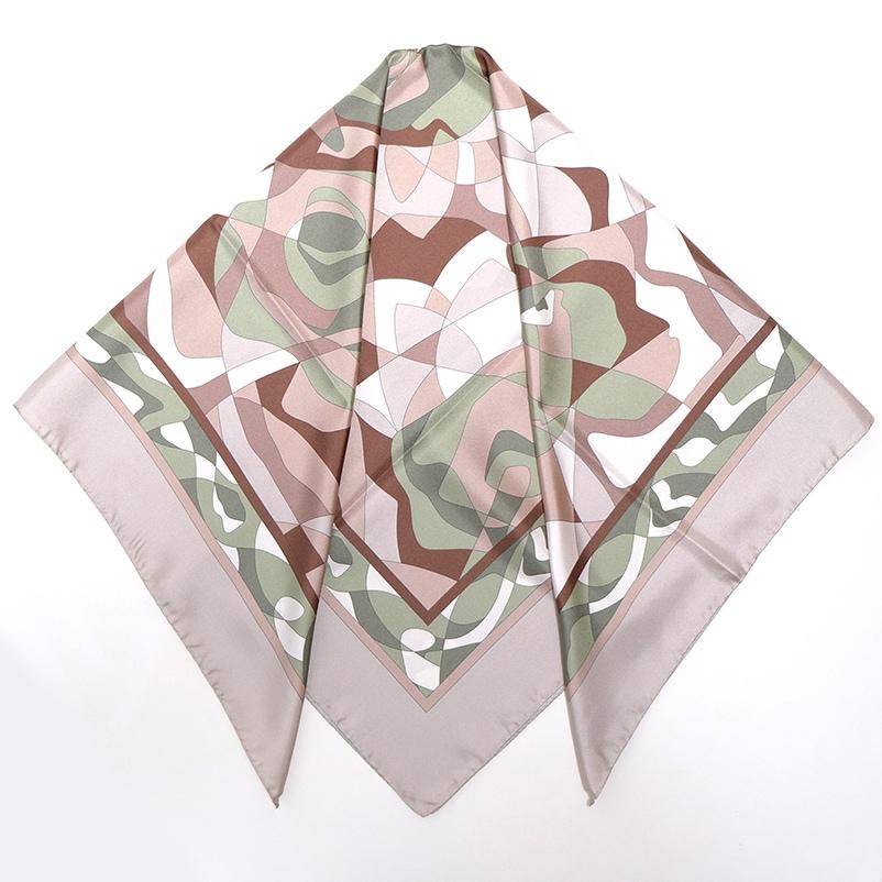 イタリア製 春夏スカーフ モカ茶カーキ・幾何学模様4