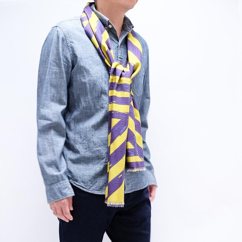 イタリア製 メンズストール ひと結び ストリィシア・イエロー(黄色×紫)2