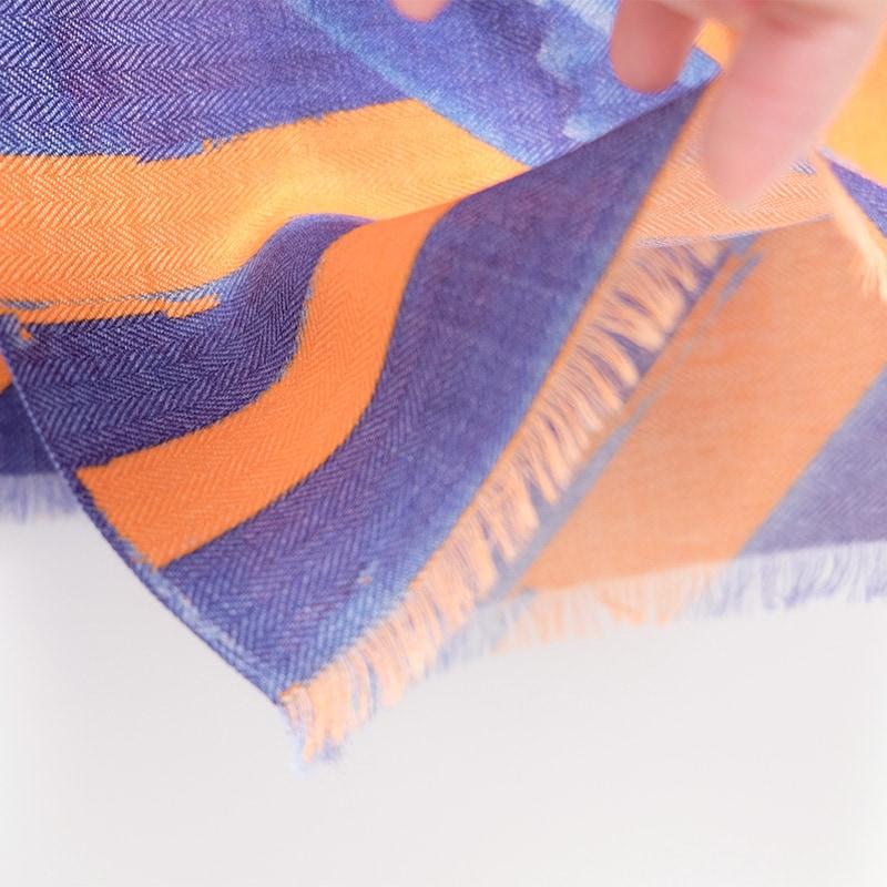 イタリア製 メンズストール シルクウール ストリィシア・オレンジ(橙×青)3