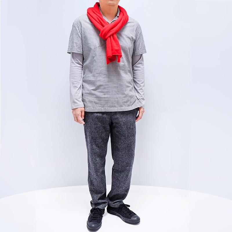 メンズマフラー カシミヤウール混【レッド】