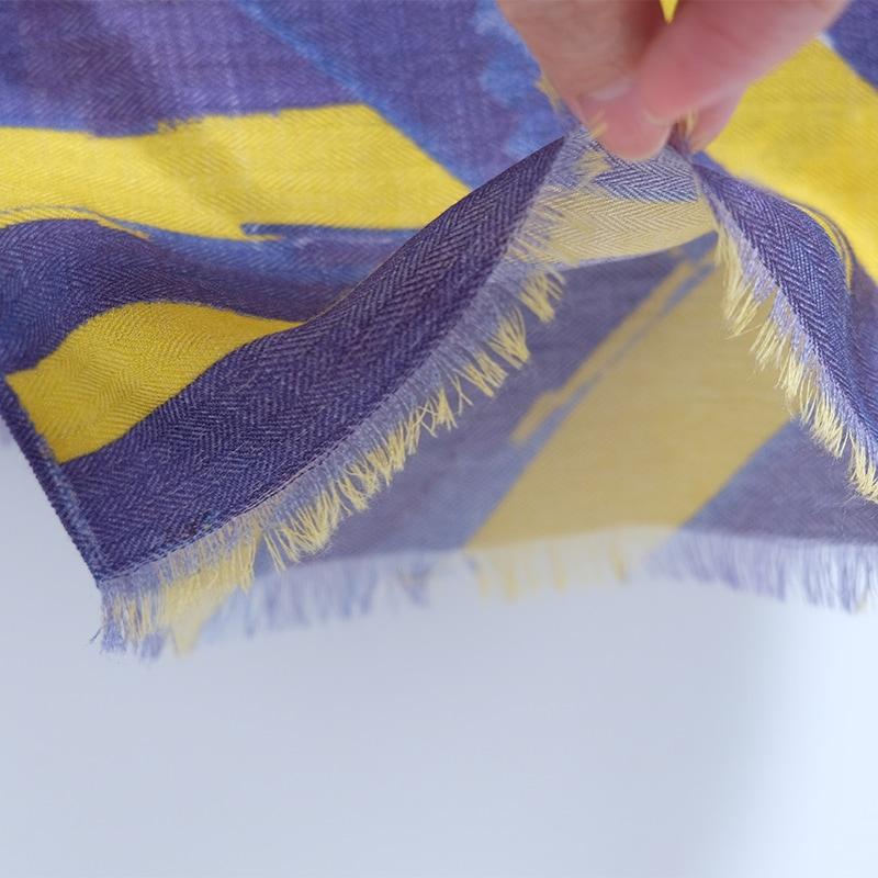 イタリア製 メンズストール シルクウール ストリィシア・イエロー(黄色×紫)3