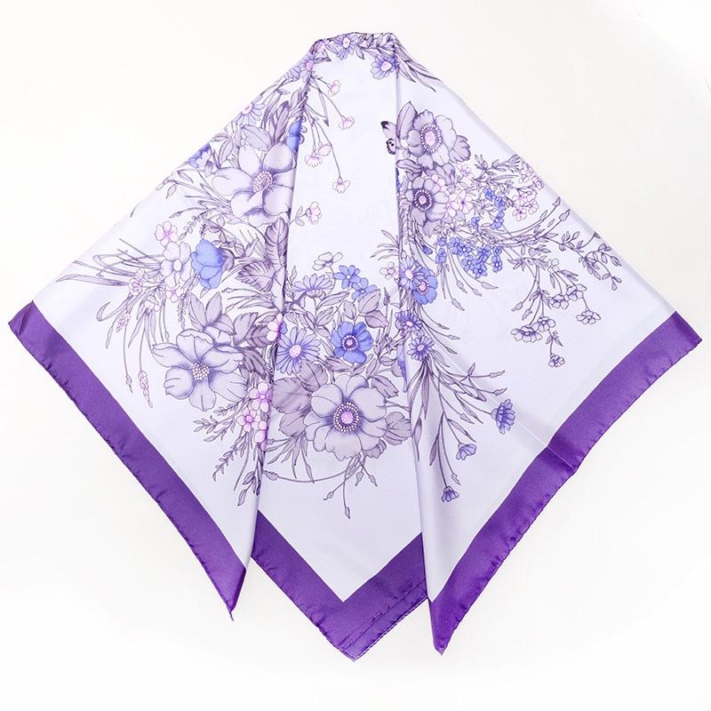 イタリア製 春夏スカーフ パープル・フラワーブーケ4
