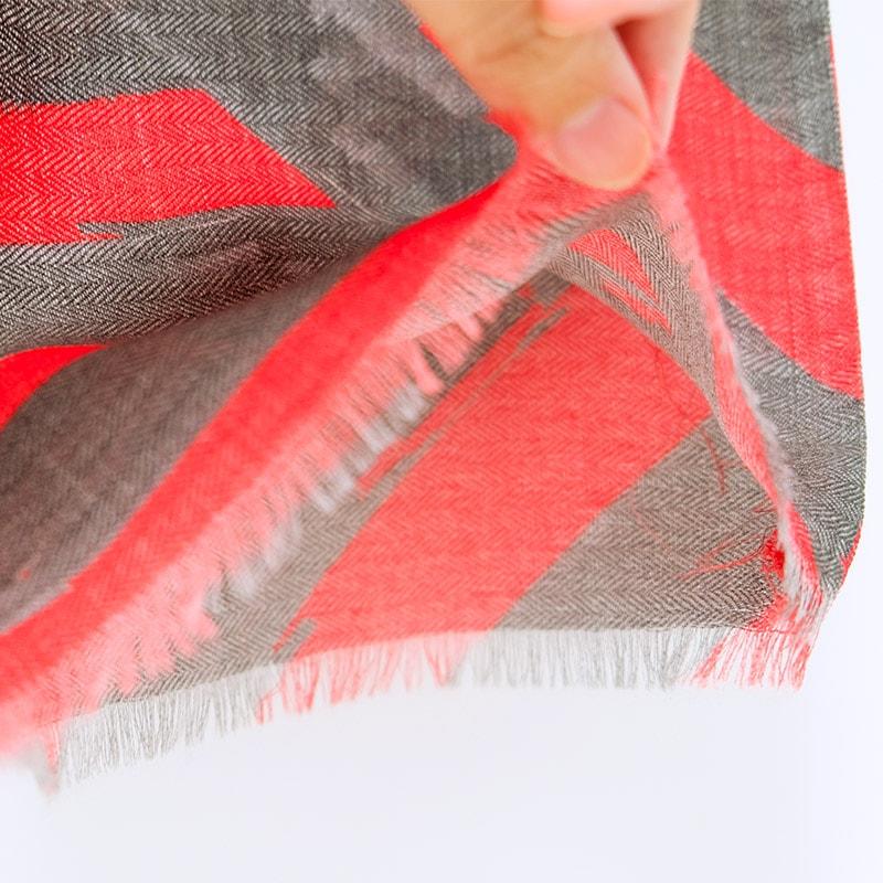 イタリア製 メンズストール シルクウール ストリィシア・レッド(赤×灰色)3