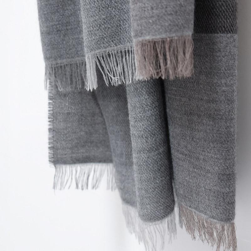 イタリア製 大判ストール 男性女性兼用デザイン ブロッコ・グレー(灰色系)6