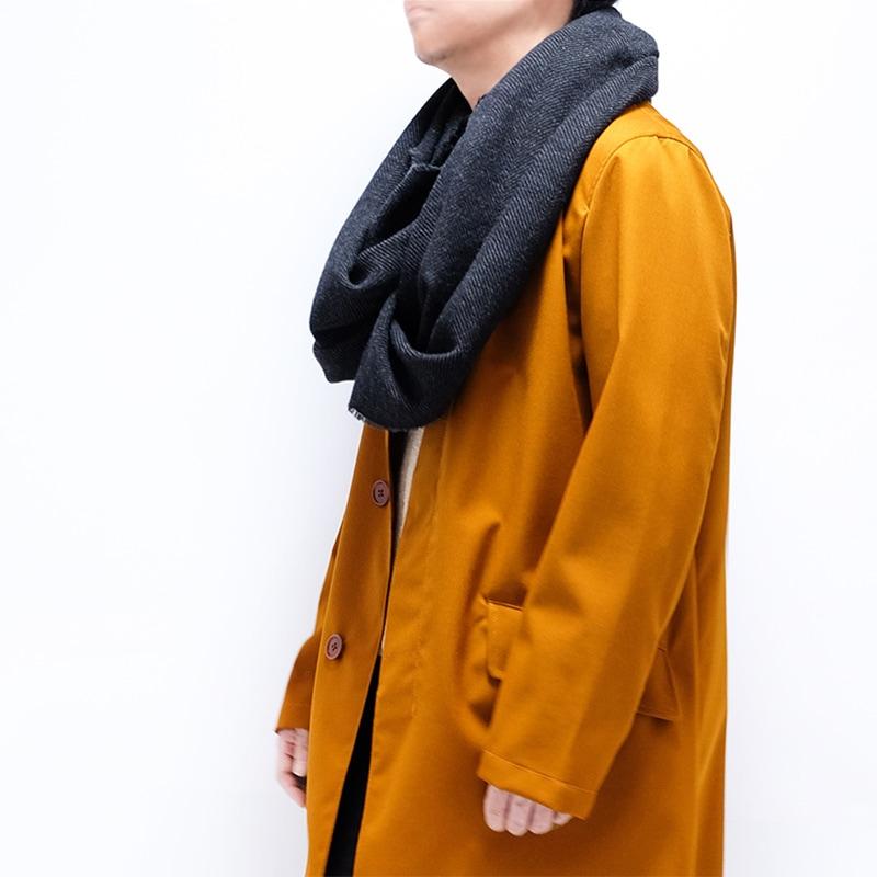 大判ストール メンズ ツイード ダークグレー7