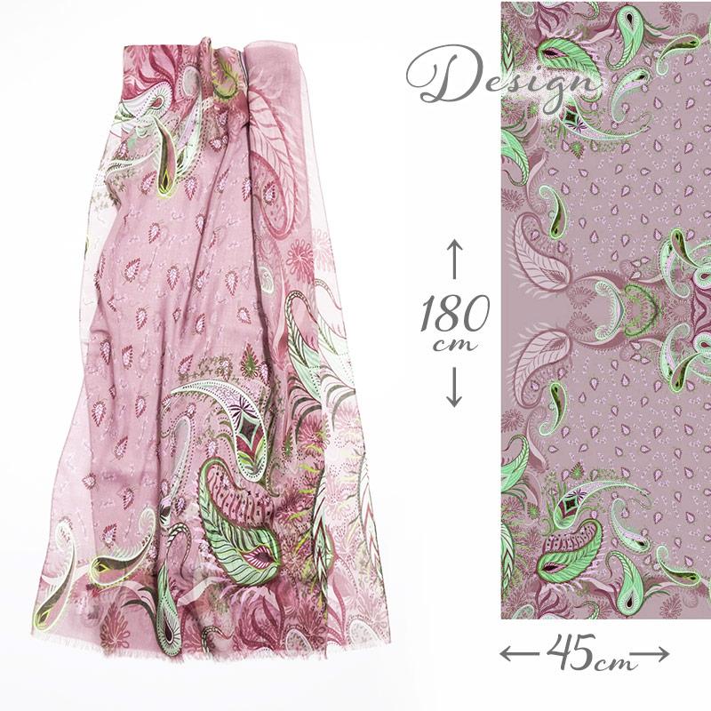 ストール レディース 春夏物 植物 ペイズリー ヴィンテージ ピンク色 母の日ギフトにおすすめ