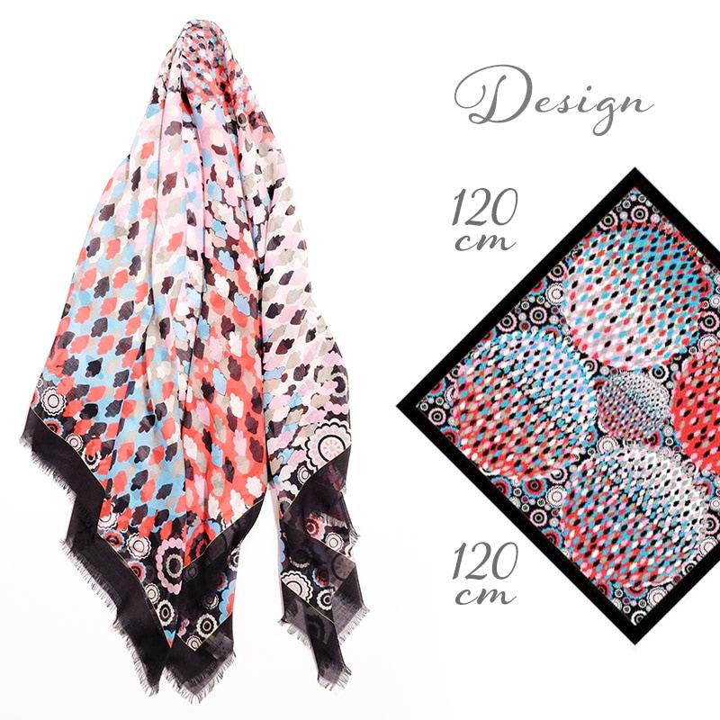大判スカーフ 正方形 春夏物 薄手 花火 幾何学 模様 ブラック 黒色 母の日ギフトにおすすめ 送料無料