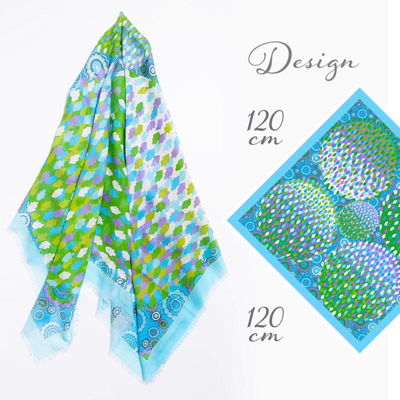 大判スカーフ 正方形 春夏物 薄手 花火 幾何学 模様 ブルー グリーン色 母の日ギフトにおすすめ 送料無料
