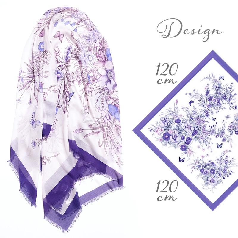 大判ストール 四角形 春夏物 薄手 花柄 青紫色 母の日ギフトにおすすめ 送料無料