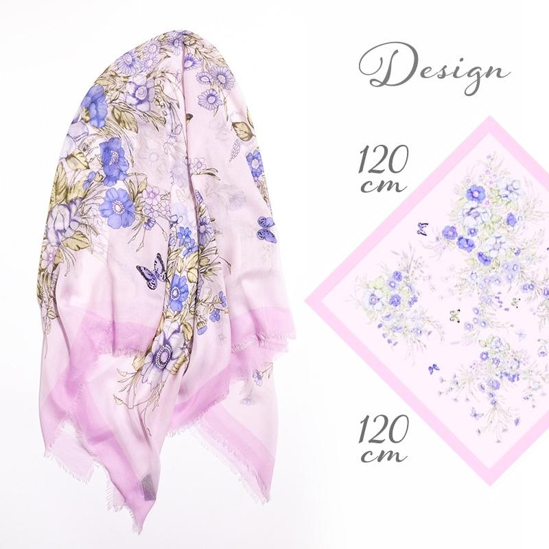 大判ストール 四角形 春夏物 薄手 花柄 ピンク色 母の日ギフトにおすすめ 送料無料