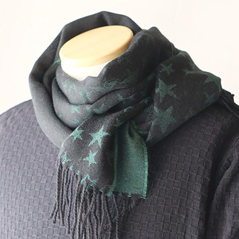 メンズマフラー 星柄リバーシブル【グリーン】バージンウール混・薄手でやわらか /イタリア製 40*180cm 秋冬マフラー
