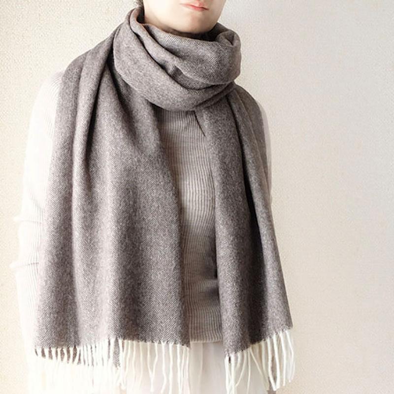 マフラー ふかふか柔らかヘリンボーン【ココア】上質ウール100%・羽織れるゆったりサイズ/イタリア製 50*200cm 秋冬マフラー