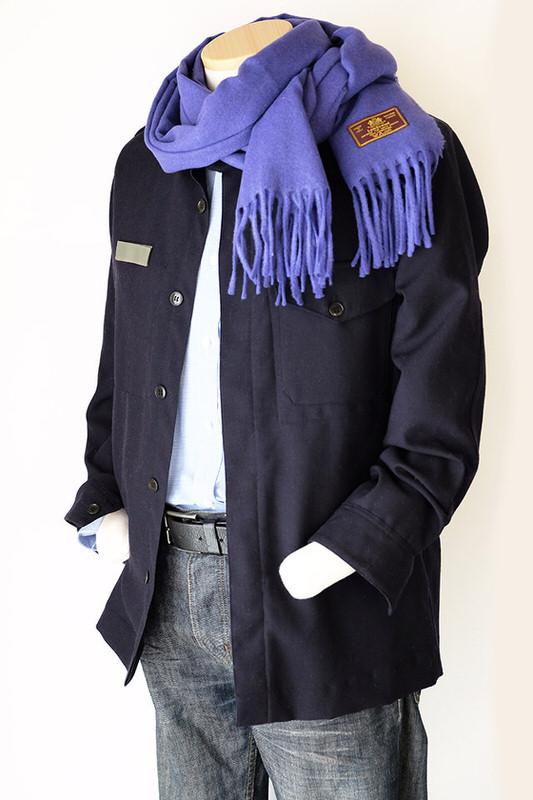 メンズマフラー【無地・パープル】ウール混・イタリアの男性用マフラー/39cm幅*200cm/冬の防寒・通勤通学に