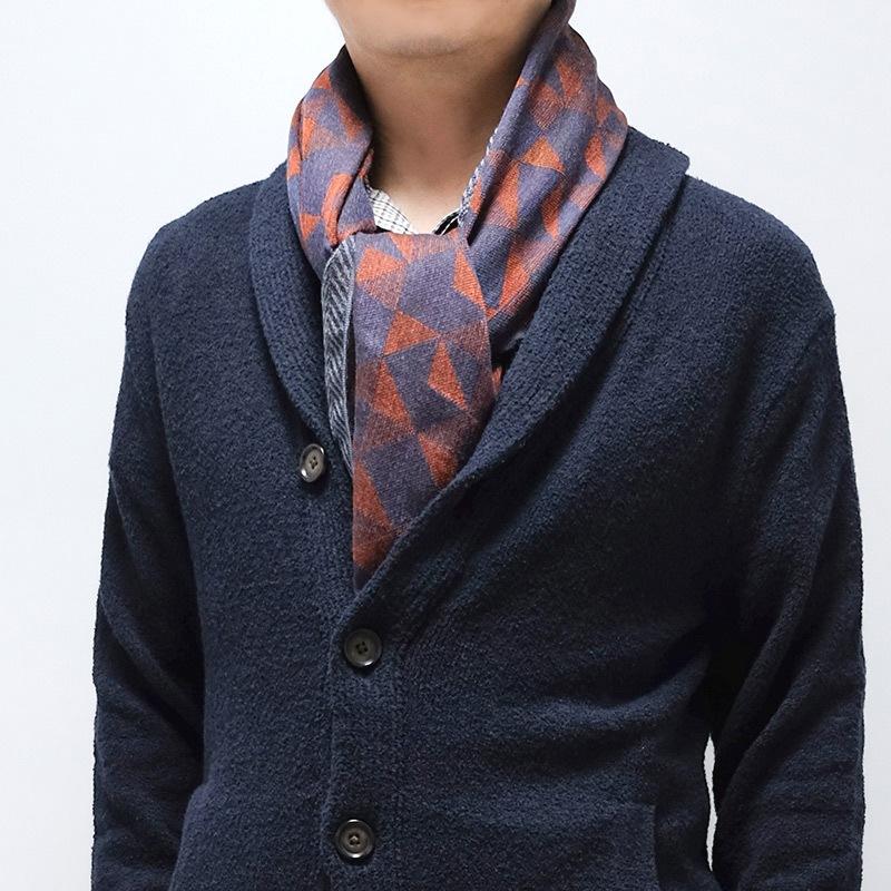 メンズストール ジャケットに似合う【レッド ネイビー】シックなジオメトリック・ウール混 /イタリア製 65cm*180cm 秋冬ストール