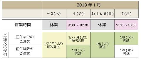 年末年始営業カレンダー1月