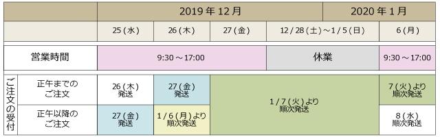 年末年始営業カレンダー12月