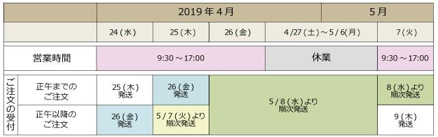 GW期間営業カレンダー