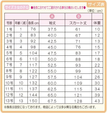サイズ3女の子G サイズ表