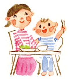 母親と子どもの食卓