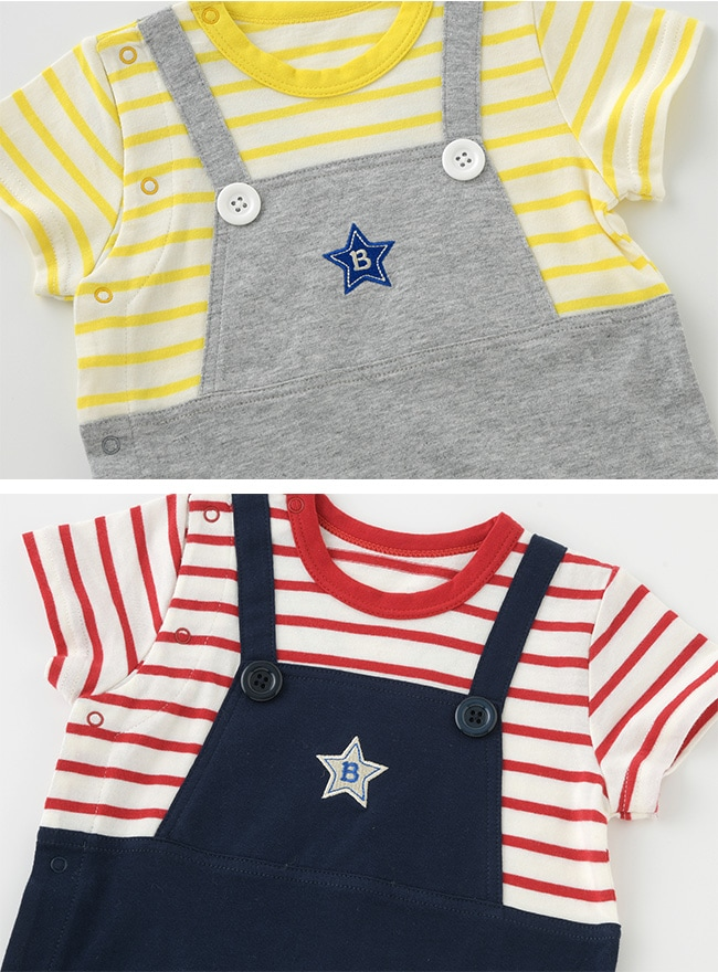 2f743f037cd49 ... ボンシュシュサロペット風半袖カバーオール ベビー服  赤ちゃん  服   ...