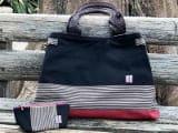 伝統織物双子織を使用したBIGトートバッグとポーチセット