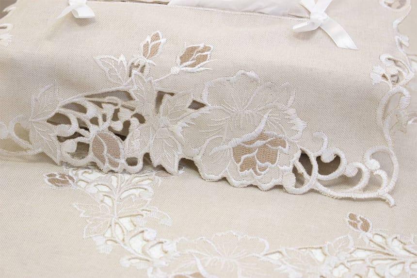 カットワーク刺繍ティシュボックスカバーのアップ