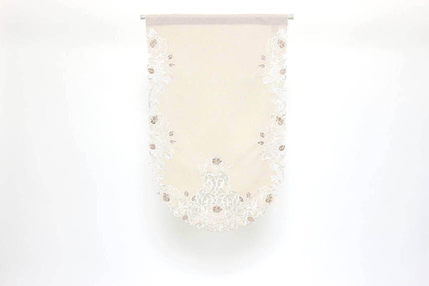カットワーク刺繍ソファカバー、カフェカーテン風