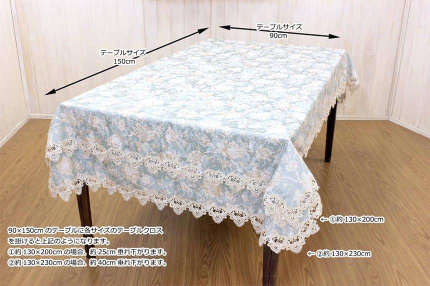 90×150cmのテーブルに約130×200cmと約130×230cmを掛けた場合を比べた想像図です。