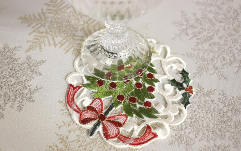 レース,通販,クリスマス,コースター,刺繍