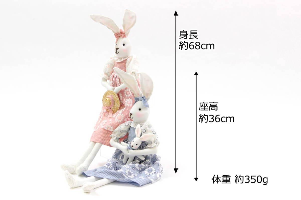 身長約68cm、座高約36cm、体重約350ℊです。