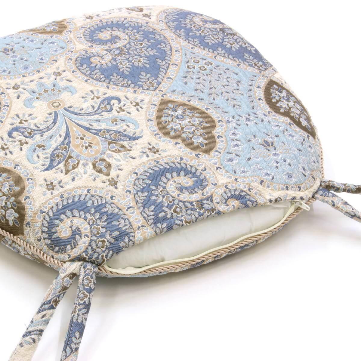 アルヴァシリーズ シェニール織の紐付シートクッションはファスナー付で中材を取り出して、カバーだけをお洗濯できます。