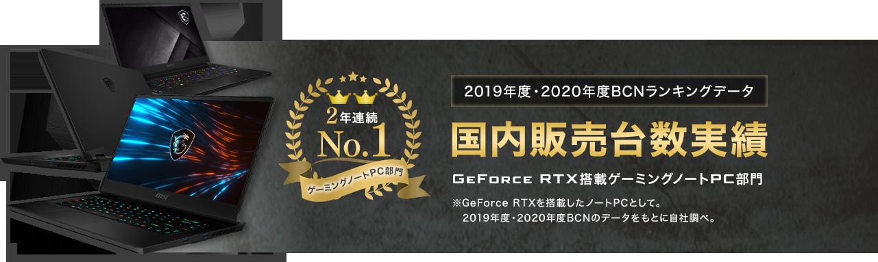 2018年・2019年BCNランキングデータ 国内販売台数実績 GeForce RTX搭載ゲーミングノートPC部門