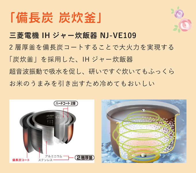 NJ-VE109(NJVE109) 三菱電機 IHジャー炊飯器 備長炭 炭炊釜