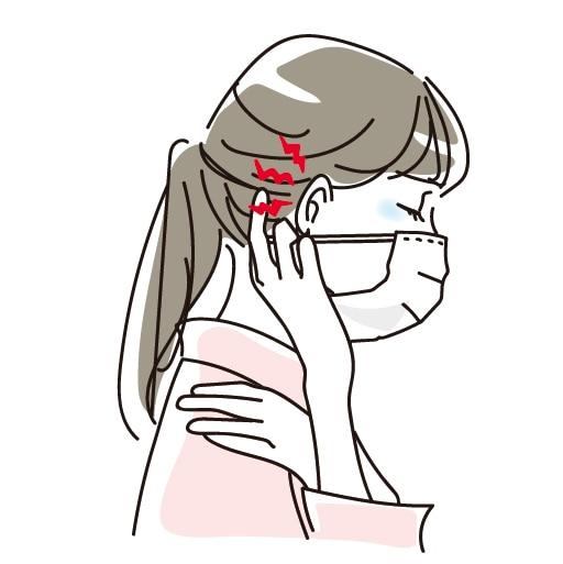 耳紐の痛み、肩こり