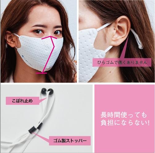鼻柱と顎でマスクをしっかりと固定