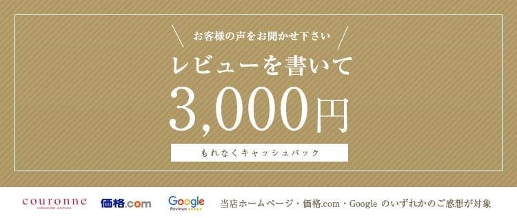 レビューを書いて3000円引き