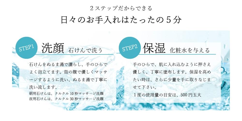 日々のお手入れはたったの5分 STEP1 洗顔 石けんで洗う STEP2 保湿 化粧水を与える