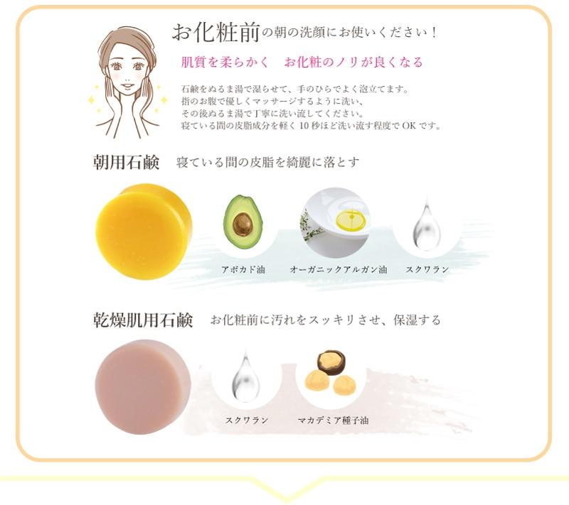 洗顔教室 朝用石鹸の使い方と各石鹸の成分