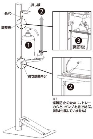 足踏み式消毒液スタンド 使用方法