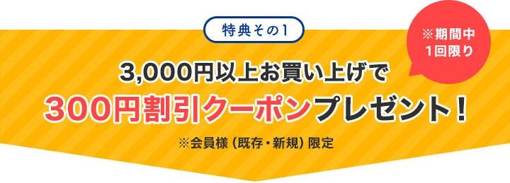 特典その1「3,000円以上お買い上げで、300円割引クーポンプレゼント!」