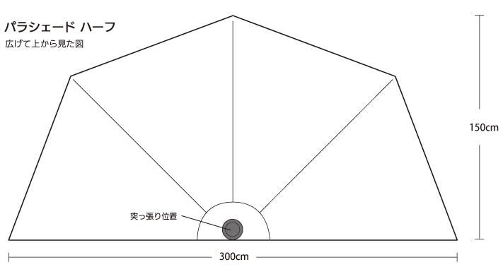 パラシェードハーフ,上部図解寸法